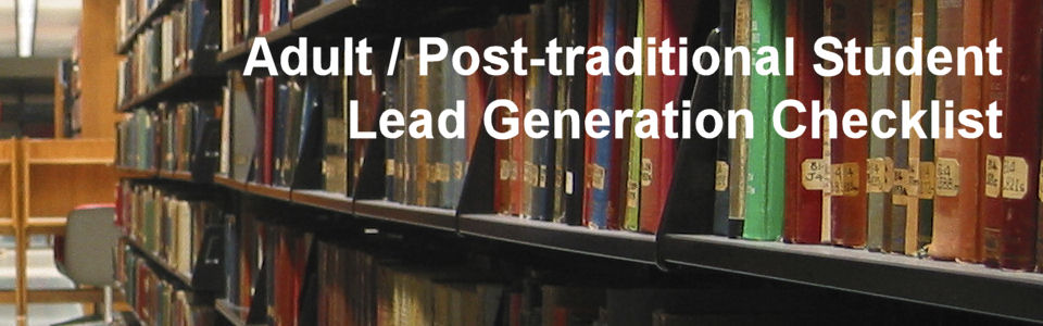 DWS Associates - Adult Post-traditional Student Lead Gen Checklist