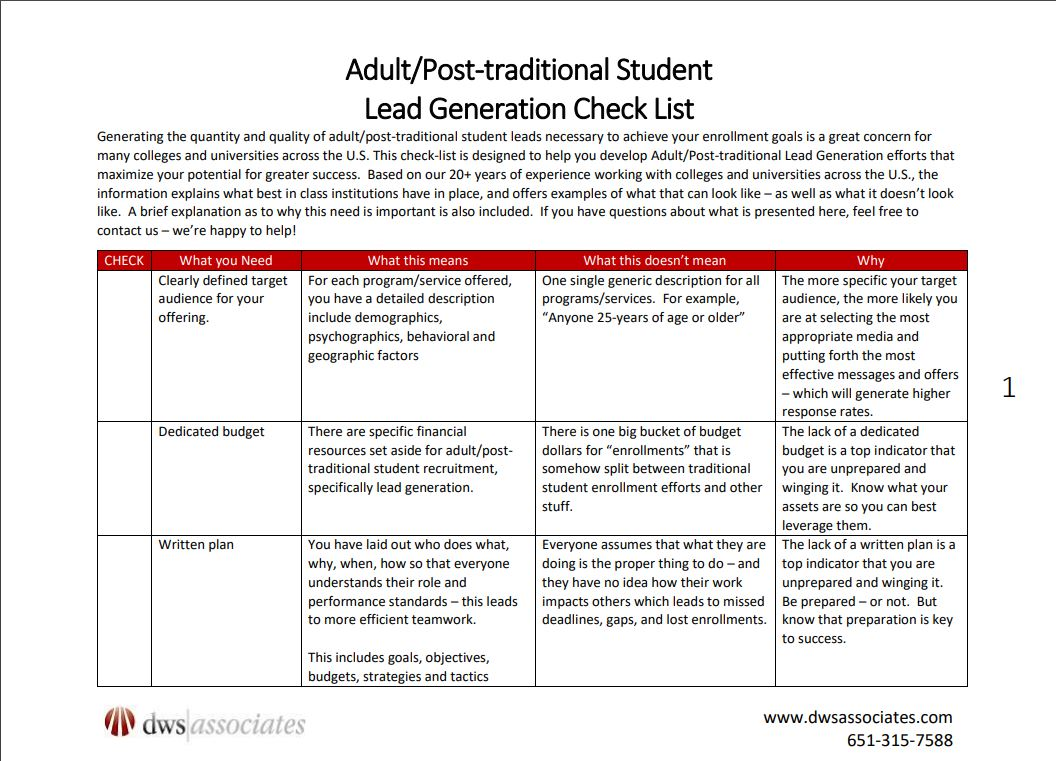 Adult Student Lead Generation Checklist